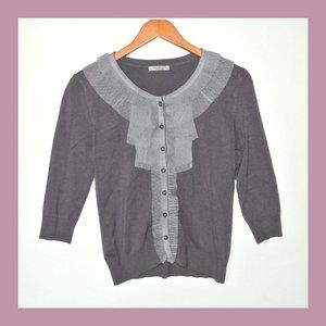 Darling Gray Cardigan Ruffle Lace Front M